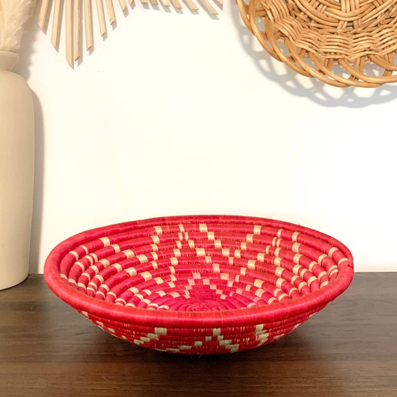 Woven Seagrass Pink Tan Bowl Tray Wall Basket Boho